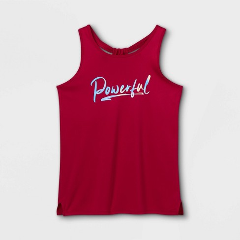 Girls' 'Powerful' Graphic Tank Top - All in Motion™ Berry - image 1 of 2