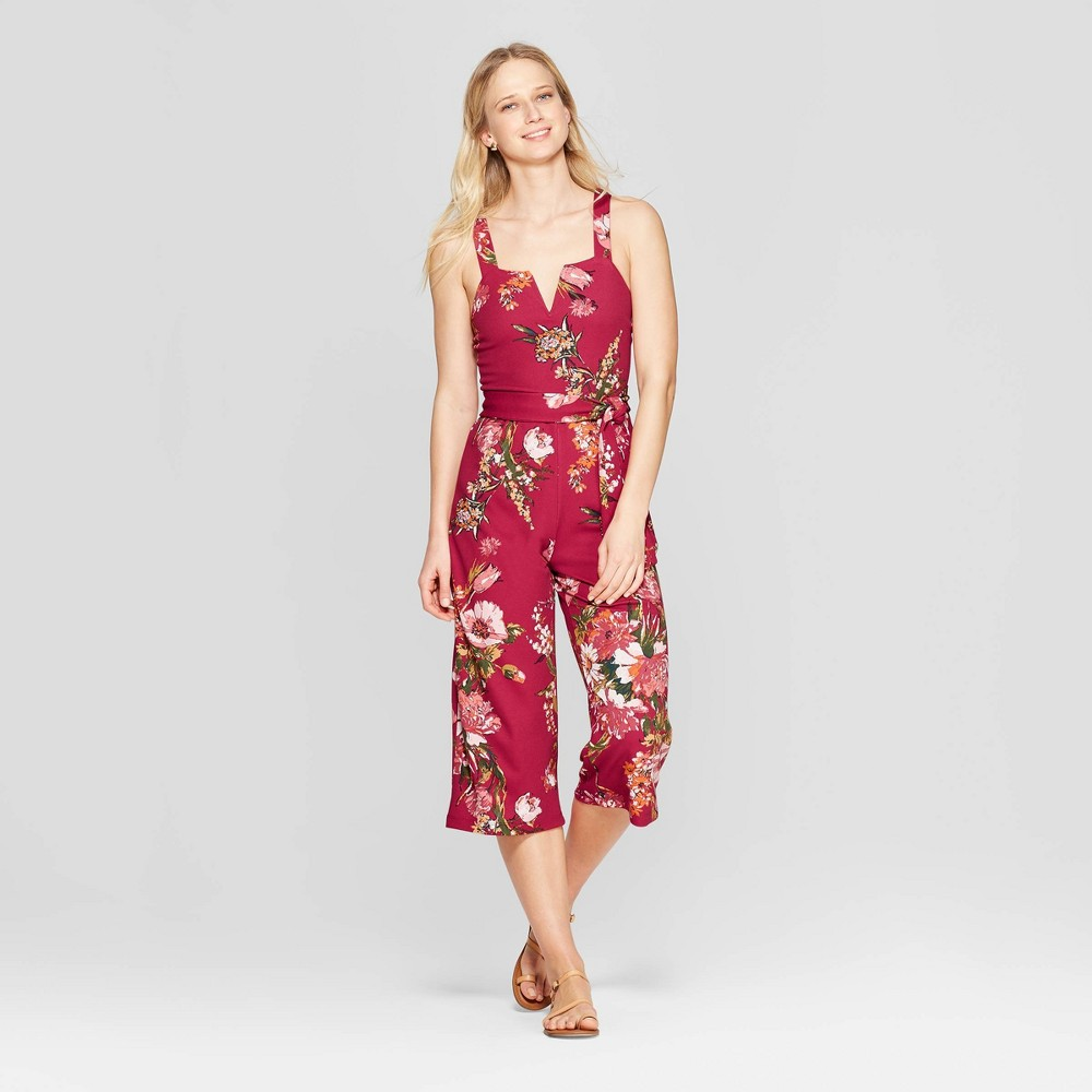 Women's Floral Print Strappy Tie Front Cropped Knit Jumpsuit - Xhilaration Red XS