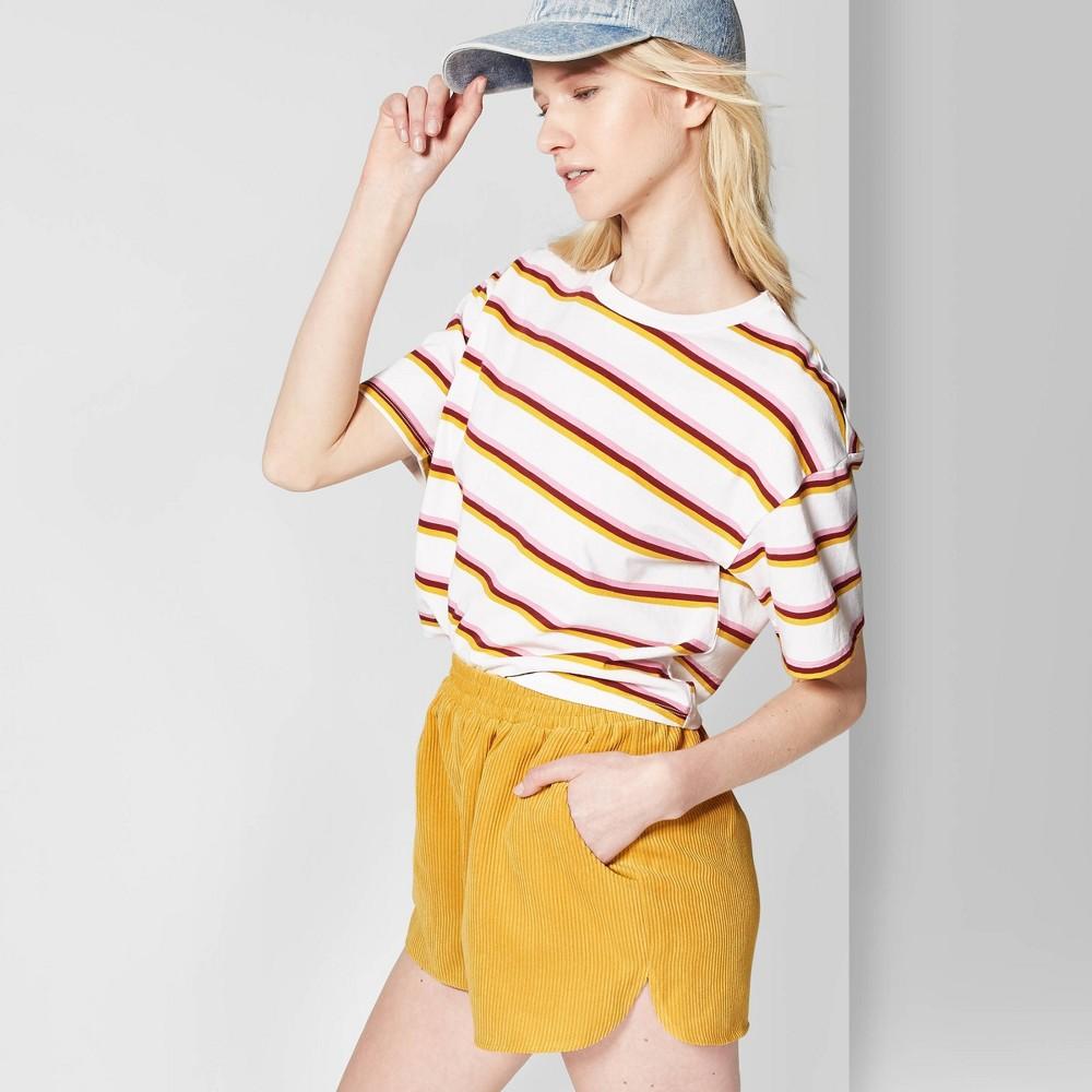 Women's Striped Short Sleeve Crewneck Oversized Boxy T-Shirt - Wild Fable White XL