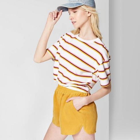 d3e2866823 Women's Striped Short Sleeve Crewneck Oversized Boxy T-Shirt - Wild Fable™  White : Target