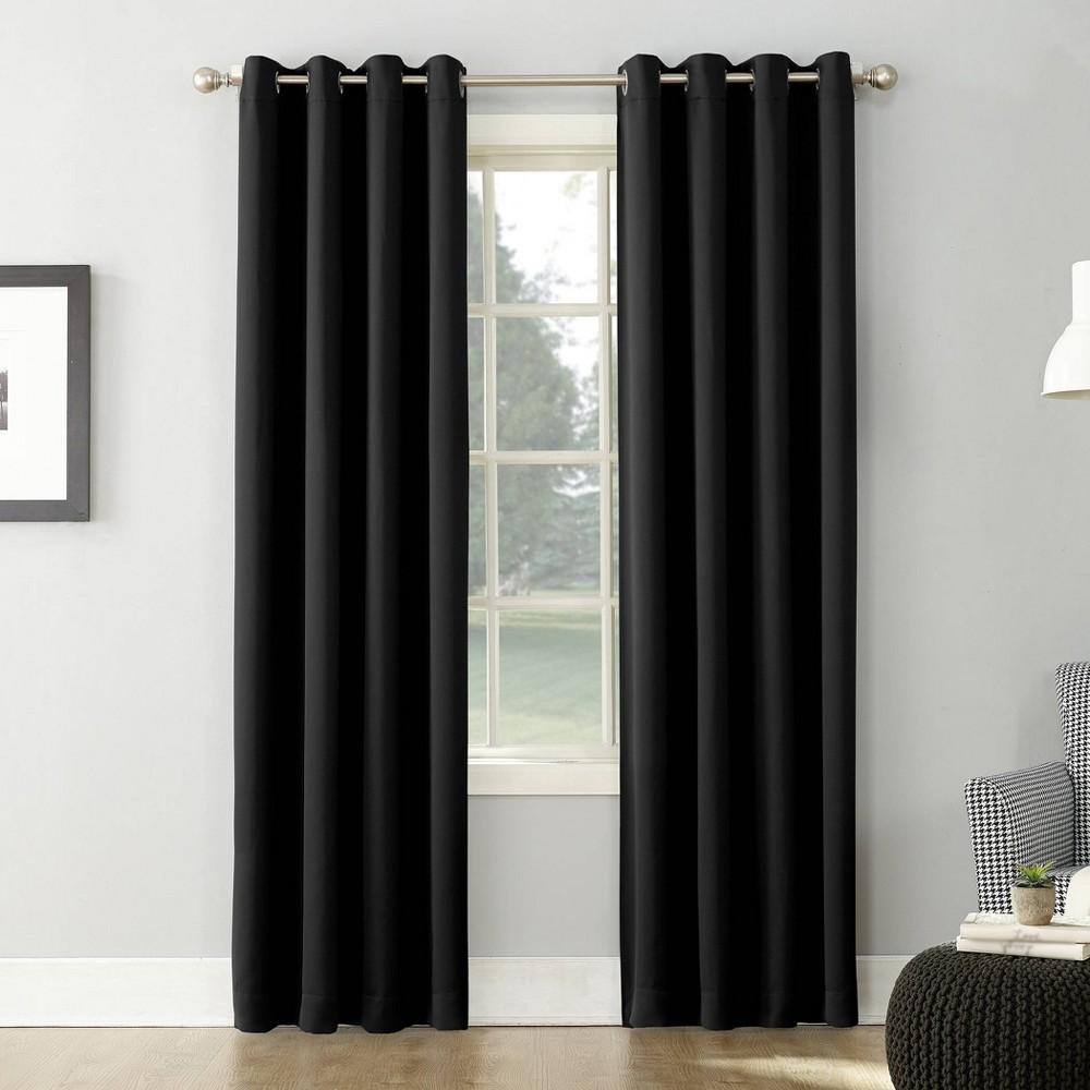 108 34 X54 34 Kenneth Energy Saving Blackout Grommet Top Curtain Panel Black Sun Zero