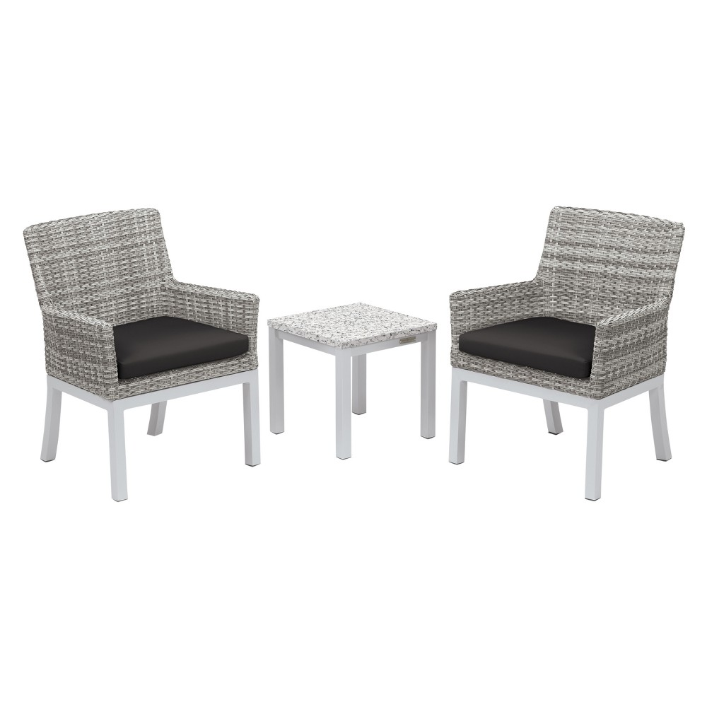 Travira 3pc Patio Conversation Set with End Table - Powder Coated Aluminum - Lite-Core Ash - Argento Wicker - Jet Black Cushion - Oxford Garden, Ash Tabletop/Jet Black Cushions/Argento Wicker