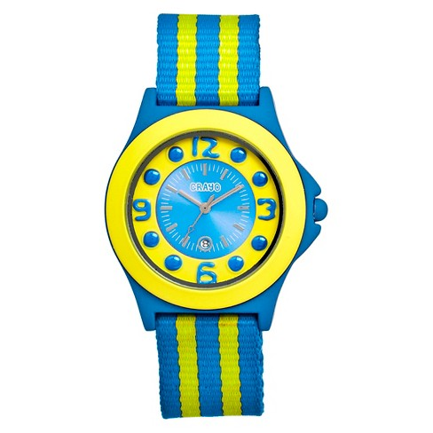 Women's Crayo Carnival Watch with Date Display and Two-Tone Nylon Strap-Blue/Yellow - image 1 of 3