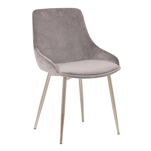 Heidi Velvet Dining Accent Chair Gray - Armen Living