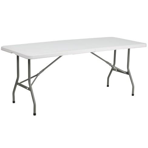 Flash Furniture 6-Foot Bi-Fold Granite White Plastic Folding Table - image 1 of 4