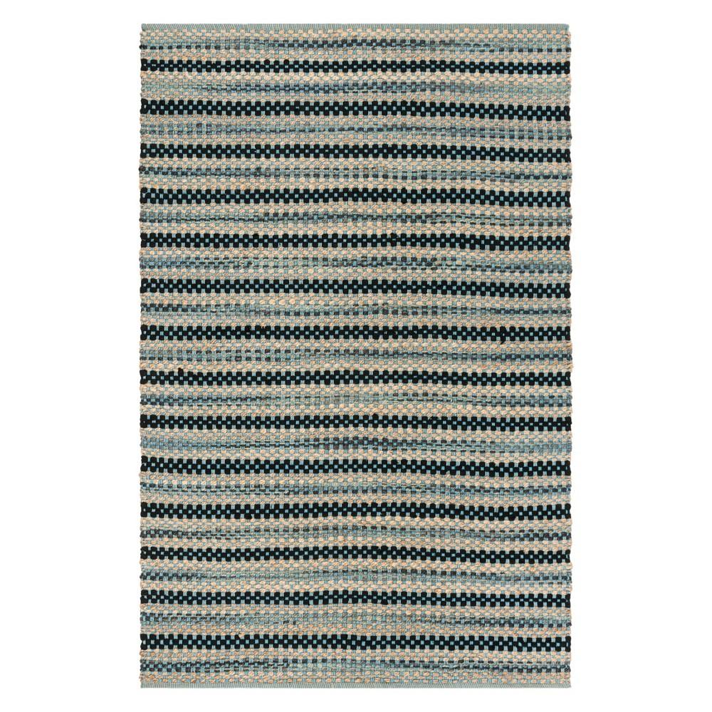 5'X8' Stripe Woven Area Rug Blue/Black - Safavieh