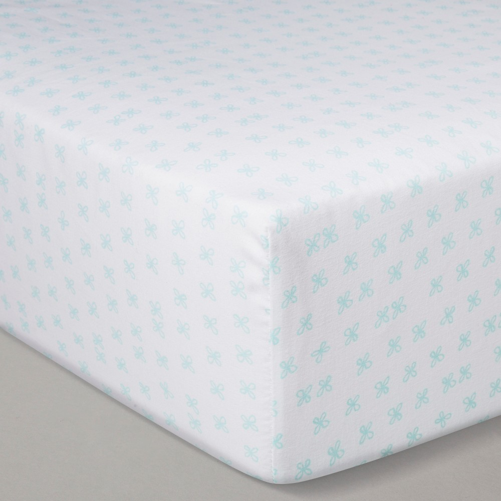 Crib Fitted Sheet - Cloud Island Blue, White