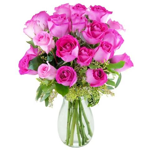 Kabloom Pretty In Pink Roses Fresh Flower Arrangement With Vase