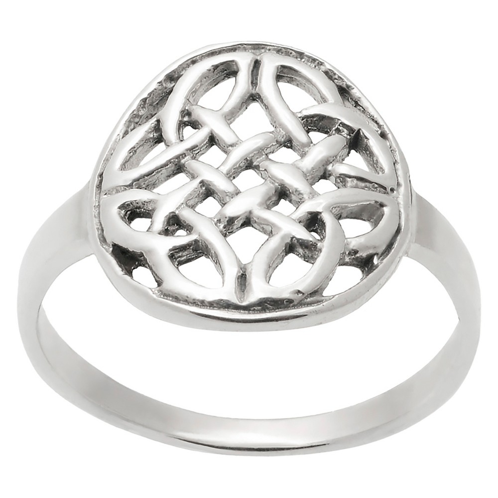 Women's Journee Collection Celtic Circle Ring in Sterling Silver - Silver, 6