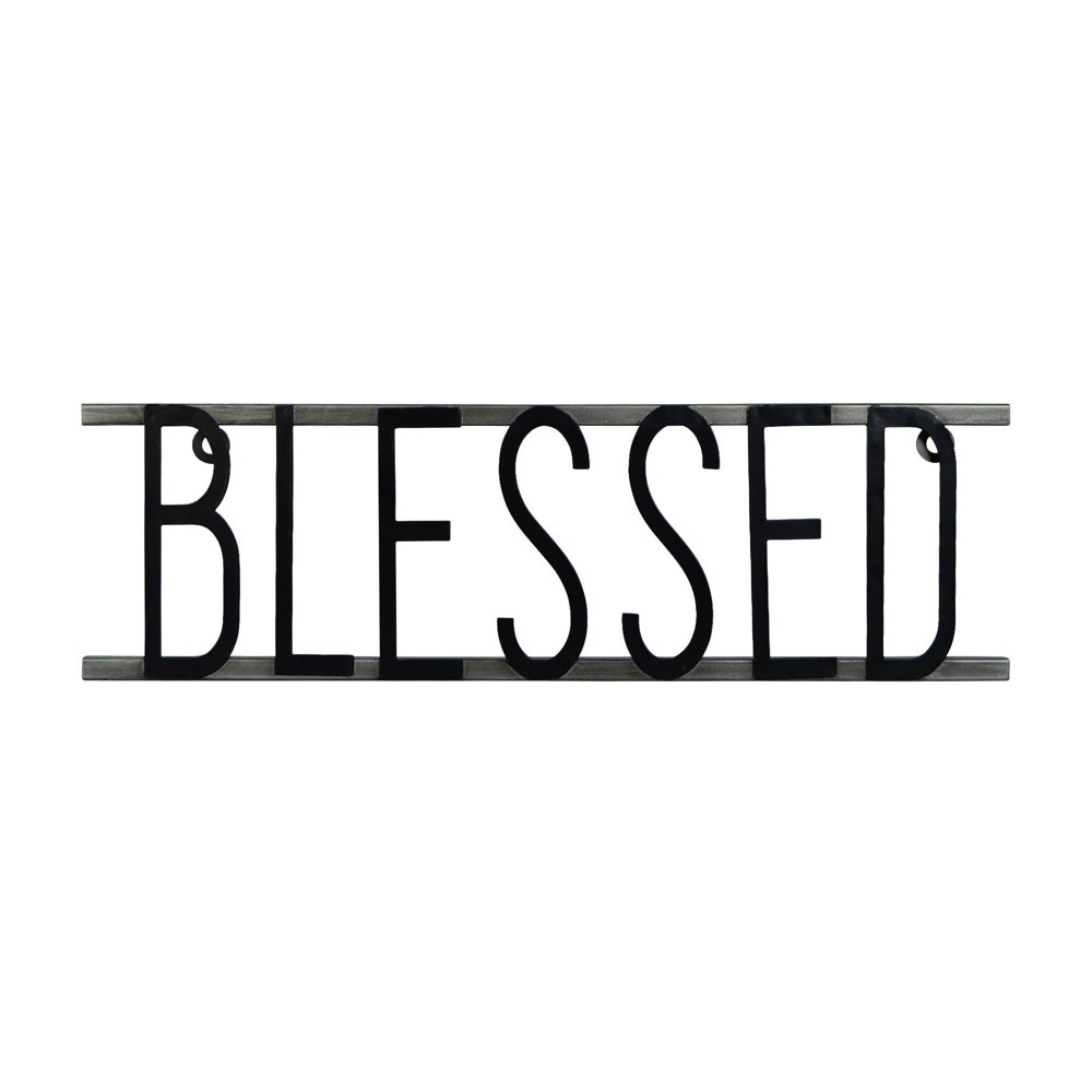 Image of Blessed Decorative Metal Wall Sign Black - Prinz