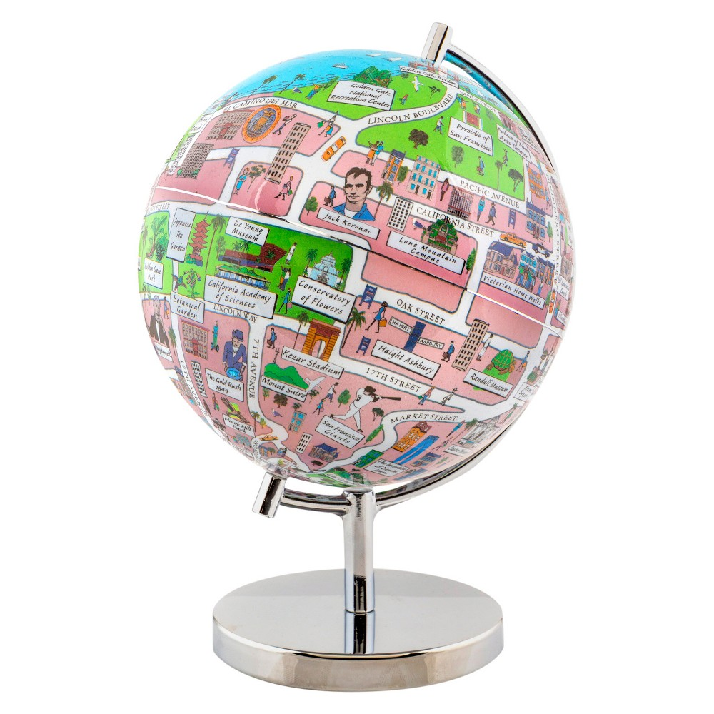 Globee San Francisco 9 Illustrated Globe, Multi-Colored See San Francisco at night in the form of an illuminated globe. The San Francisco Night Light Globe is 9-inches in diameter and comes with a chrome silver stand. The globe depicts all the major landmarks and tourist sites of the city as well as the major streets and some of the famous characters associated with it and includes a 16 page informational booklet. Makes a wonderful gift or addition to any room. This globe is illuminated using Led lights within the globe and powered by Aaa batteries which are not included. You will never need to replace a light bulb! Color: Multi-Colored. Age Group: Adult.