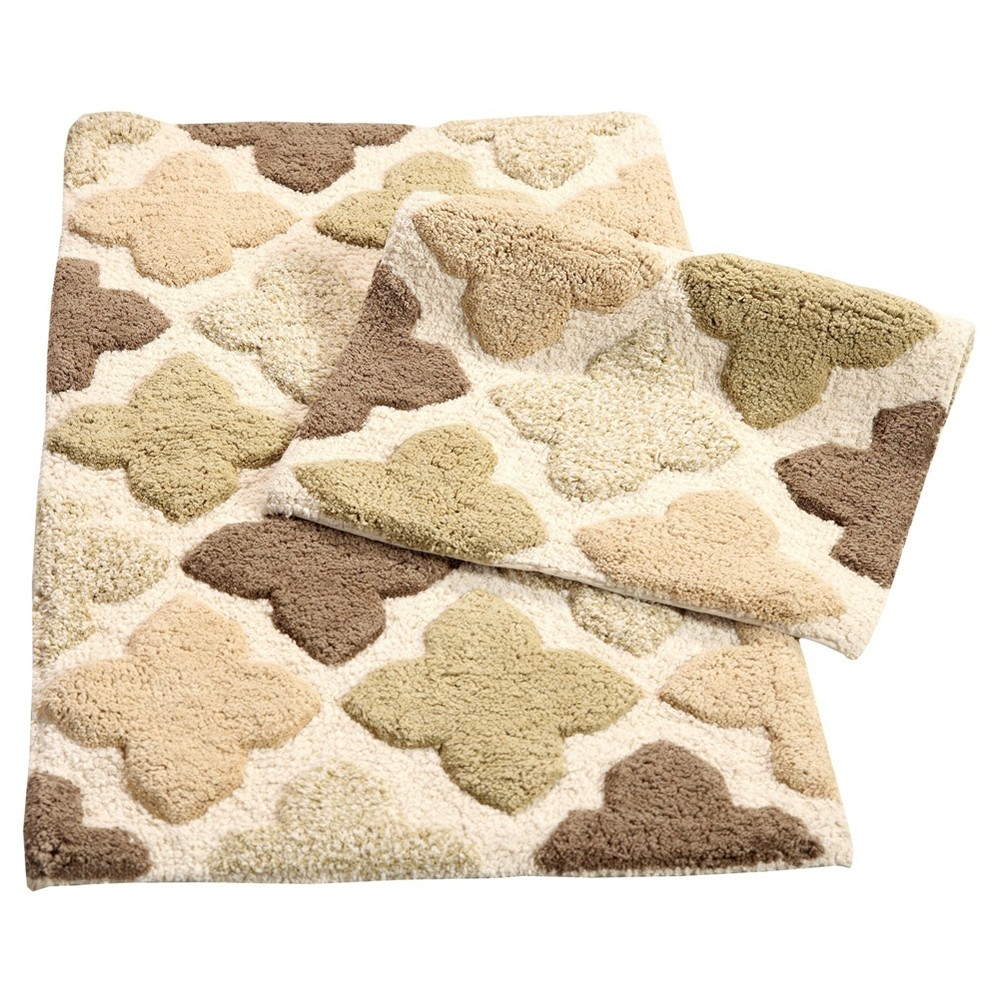 Image of Alloy Moroccan Tiles 2 Piece Bath Rug Set Khaki (Green) - Chesapeake Merchandising Inc.