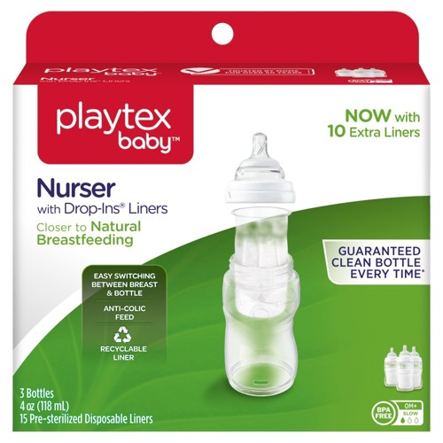Playtex Baby Nurser With Drop-Ins Liners 4oz 3pk Baby Bottle, Clear