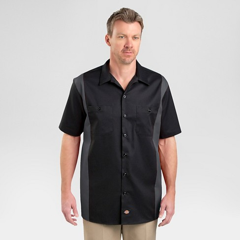 DickiesR Mens Big Tall Relaxed Fit Two Tone Twill Short Sleeve Work Shirt