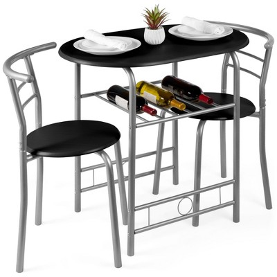 Best Choice Products 3-Piece Wood Dining Room Round Table & Chairs Set w/ Steel FrameBuilt-In Wine Rack