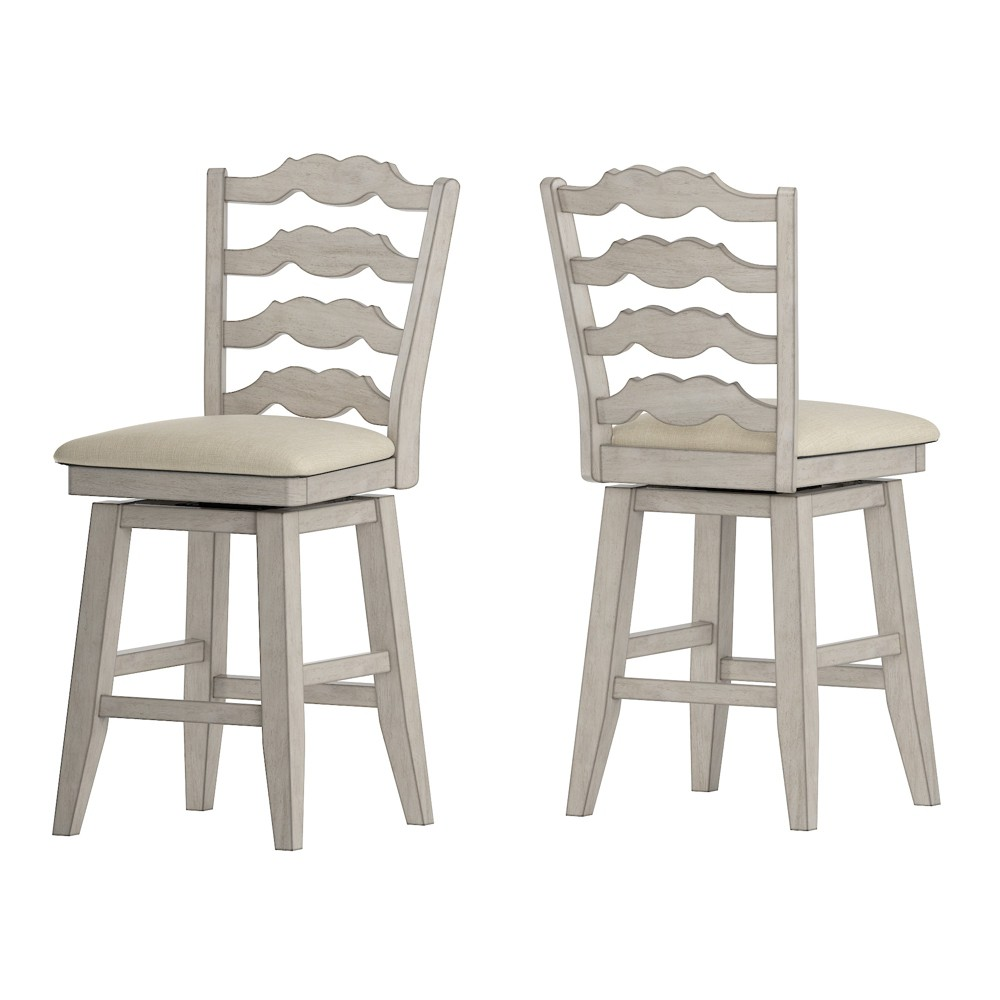 """Image of """"24"""""""" South Hill French Ladder Back Swivel Counter Height Chair White - Inspire Q"""""""