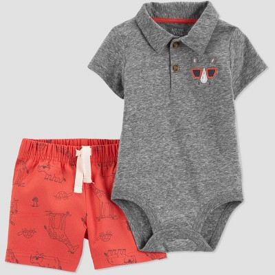 Baby Boys' 2pc Rhino Shorts Set - Just One You® made by carter's Gray/Red 12M