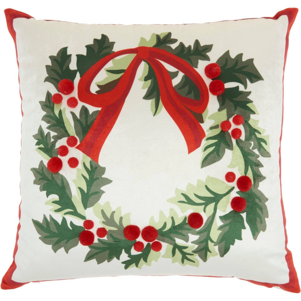 Image of Wreath Christmas Throw Pillow -Nourison, White Green Red