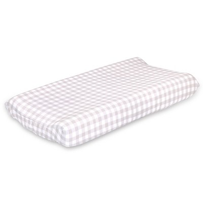 The Peanutshell Farmhouse Check Changing Pad Cover - Gray