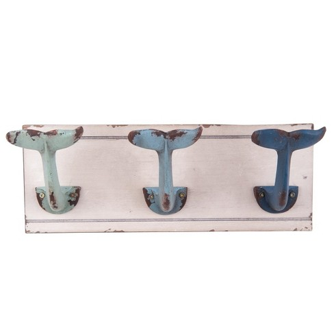 Foreside Home & Garden Distressed Wood and Metal Whale Tail Decorative Wall Hook - image 1 of 3
