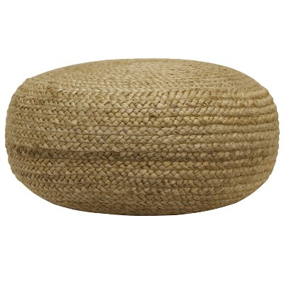 Round Woven Pouf Tan - Décor Therpay