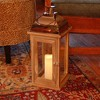 Wooden LED Lantern with Copper Roof and Battery Operated Candle Brown - LumaBase - image 2 of 4