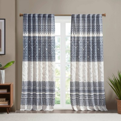"""84""""x50"""" Mila Cotton Printed Room Darkening Window Curtain Panel with Chenille detail and Lining"""