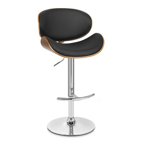 Astounding Naples Swivel Barstool In Chrome Finish With Black Faux Leather And Walnut Veneer Back Armen Living Andrewgaddart Wooden Chair Designs For Living Room Andrewgaddartcom