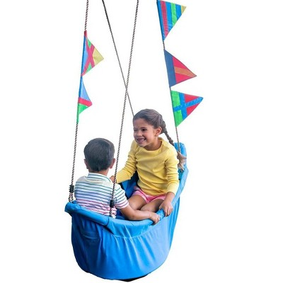 "HearthSong Regatta Boat Tree Swing for Kids with Colorful Flags and Mesh Bottom, 47""L x 22""W x 13""H Holds Up To 200 lbs."
