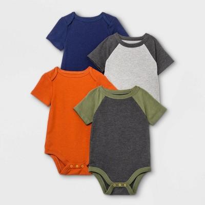 Baby Boys' 4pk Short Sleeve Bodysuit - Cat & Jack™ Olive Green/Navy/Orange 3-6M