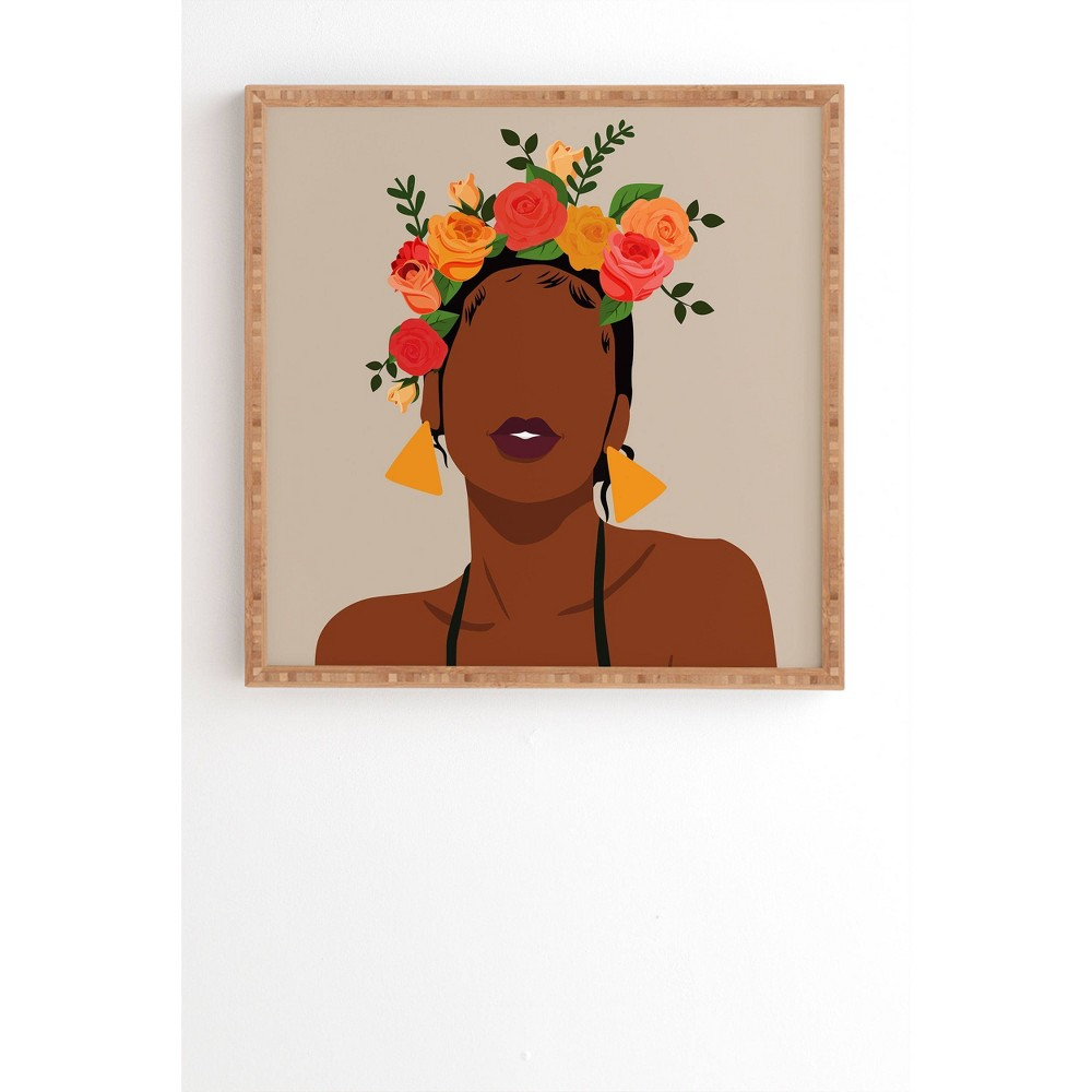 12 34 X 12 34 Domonique Brown Crown Framed Wall Art Bamboo Deny Designs