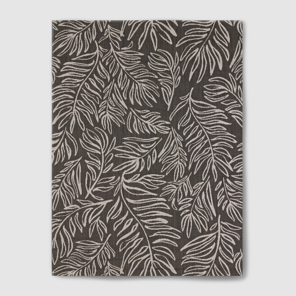 Image of 7' x 10' Leaves Outdoor Rug Black - Project 62, Black White