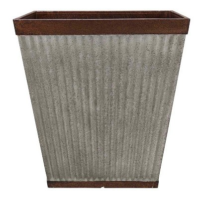 Southern Patio HDR-046851 16 Inch Square Rustic Resin Indoor Outdoor Garden Planter Urn Pot for Flowers, Herbs, and Flowers