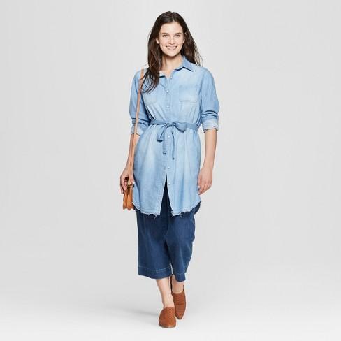 b6259aa7ef5 Women s Long Sleeve Denim Shirtdress - Universal Thread™ Light Wash XXL    Target