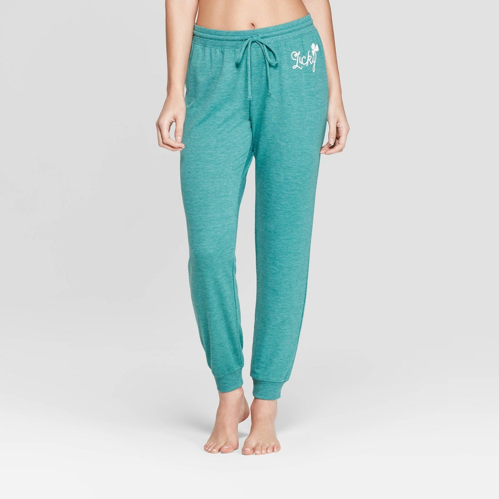 Weekend Soul Women's St. Patrick's Day Lucky Jogger Pajama Pants - Green XL