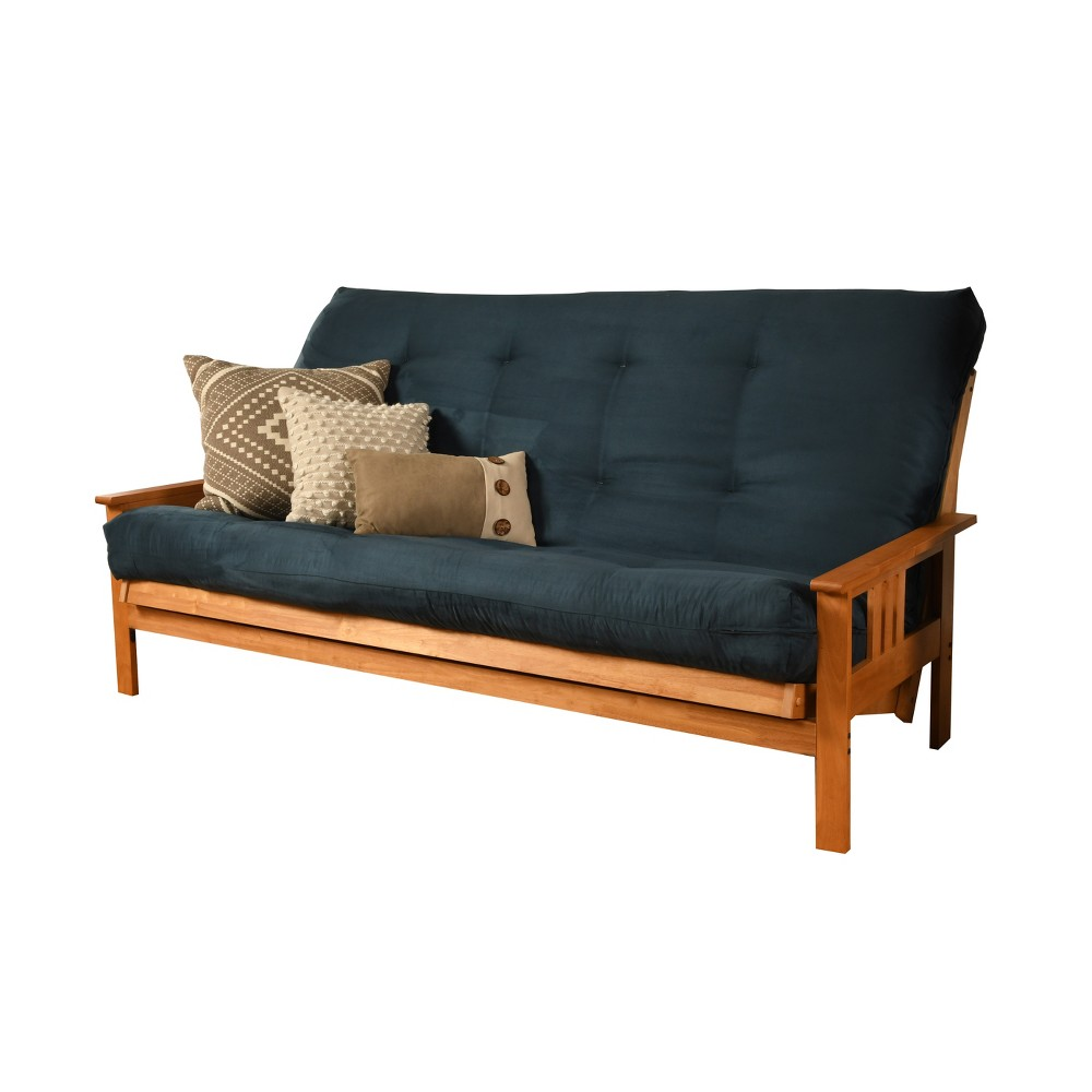 Image of Full Chicago Coil Spring Mattress Futon Navy Suede - Dual Comfort, Size: Without Drawers, Blue Suede
