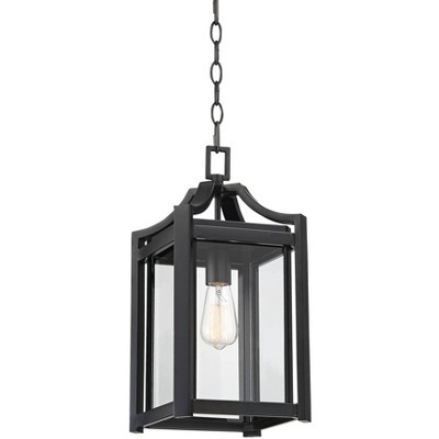 """Franklin Iron Works Rustic Farmhouse Outdoor Ceiling Light Hanging Black 17"""" Clear Beveled Glass Exterior House Porch Patio Deck"""
