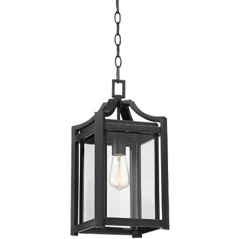 """Franklin Iron Works Rustic Farmhouse Outdoor Ceiling Light Hanging Black 17"""" Clear Beveled Glass Exterior House Porch Patio Deck - image 1 of 4"""