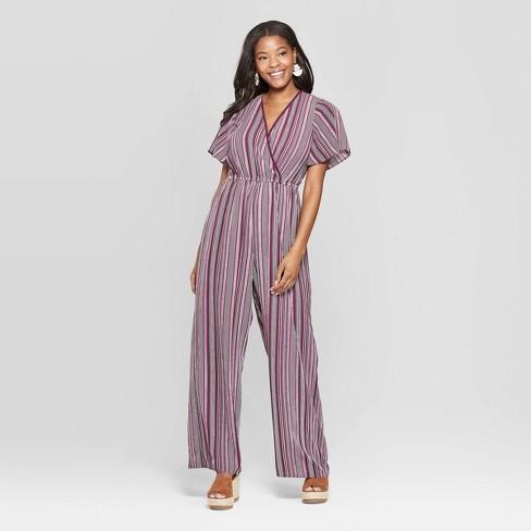 b576e51d37d5 Women s Striped Short Sleeve Deep V-Neck Wrap Jumpsuit - Xhilaration™ Wine