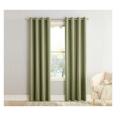 "95""x54"" Seymour Energy Efficient Grommet Room Darkening Curtain Panel Green - Sun Zero"