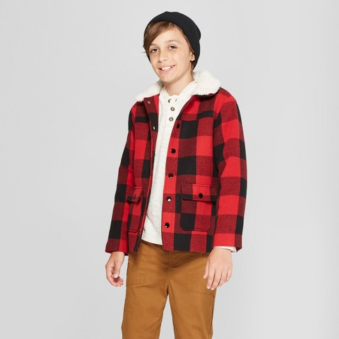 Boys' Faux Wool Jacket - Cat & Jack™ Red XS - image 1 of 3