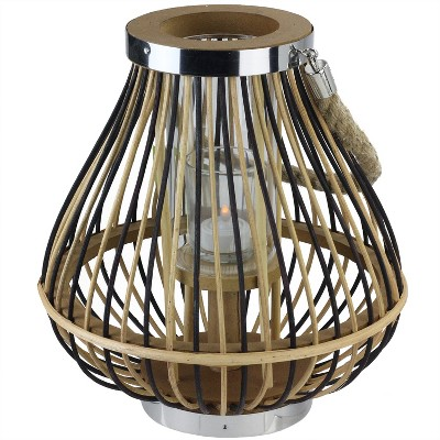 "Northlight 11"" Rustic Chic Pear Shaped Rattan Candle Holder Lantern with Jute Handle"