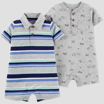 Baby Boys' 2pk Stripe Romper - Just One You® made by carter's Gray 3M