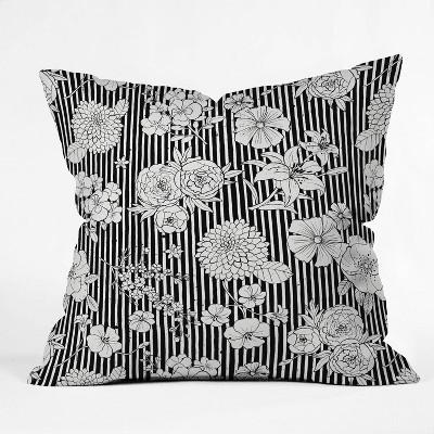 "16""x16"" Ninola Design Flowers and Striped Throw Pillow Black/White - Deny Designs"