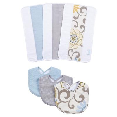 Waverly Baby® by Trend Lab® Pom Pom Spa Bib and Burp Cloth Set - Blue 6pc