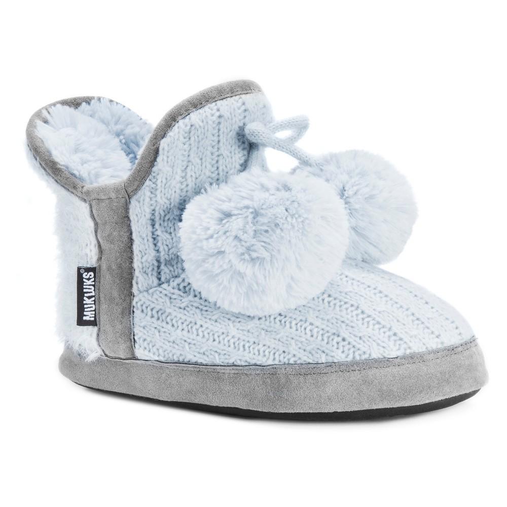 Women's Muk Luks Pennley Pom Pom Sweater Knit Bootie Slippers - Pastel Blue S(5-6), Size: S (5-6)