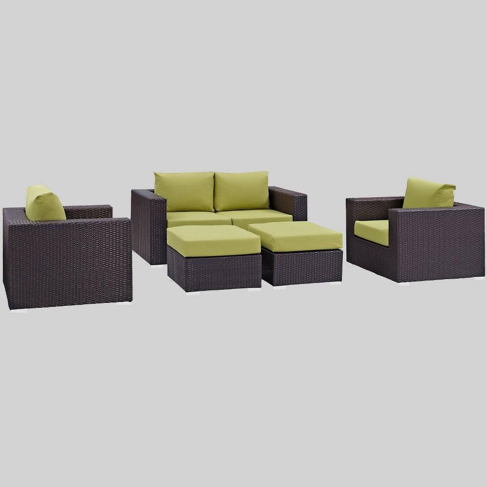 Convene 5pc Outdoor Patio Sofa Set Peridot Modway