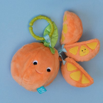 Manhattan Toy Mini-Apple Farm Orange Baby Travel Toy with Rattle, Squeaker, Crinkle Fabric & Teether Clip-on Attachment