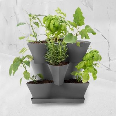"16"" Collins Modular Multi-Level 3-Tier Vertical Herb Planter Gray - Bloem"