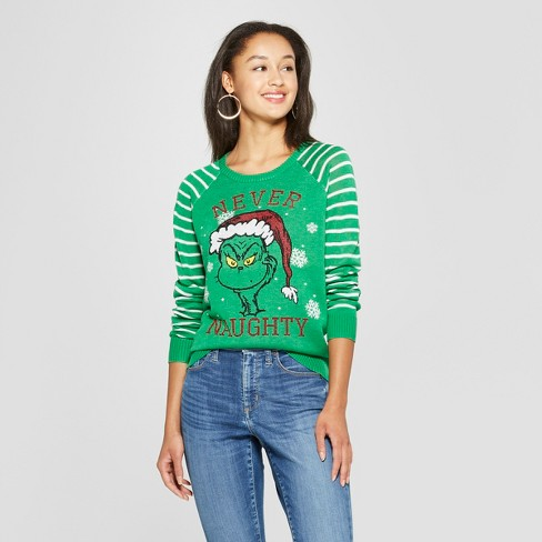 Womens The Grinch Never Naughty Ugly Sweater Juniors Green Target